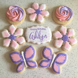 Butterflies and flower birthday cookies. $40/dozen.