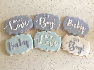 Personalized baby shower plaques. $4 each.