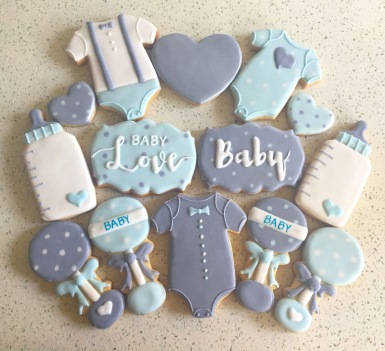 Classic boy baby shower set, $42/dozen.