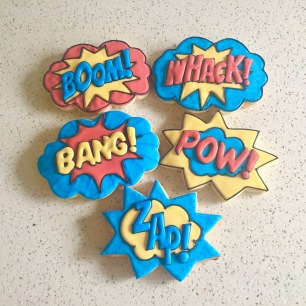 Large comic book pop art cookies. $4.50 each.