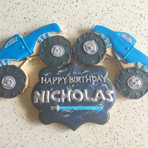 Monster Trucks ($5 each) & Large personalized plaque cookie ($5 each).
