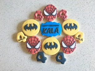Batman and Spider Man Cookie Set. $42/dozen.