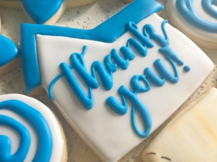 "Large house ""thank you"" cookies, $4.50 each. Perfect addition to a housewarming set or realtor gift for clients."