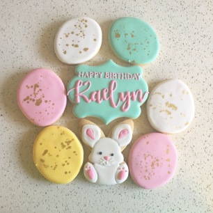 Easter eggs ($3), Kawaii bunny ($4), Large plaque cookie ($5).