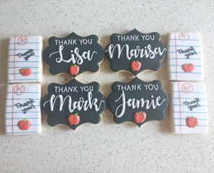 Last day of school thank you cookies for teachers, $5 for large chalkboard cookie, $3.50 each for folder paper cookie.