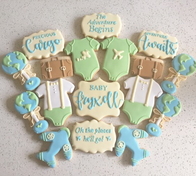 Travel themed baby shower set. $45/dozen.