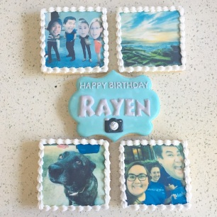 Large square personalized edible image cookies. $4.50 each.