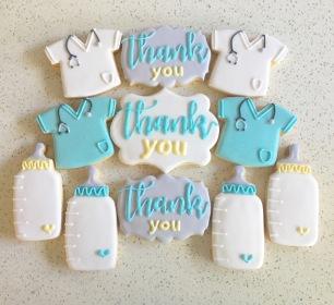 Newborn thank you cookie set for nurses and doctors, $42/dozen.