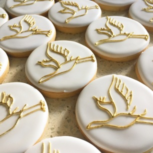 Golden crane cookies for a 90th birthday girl. $3.50 each.