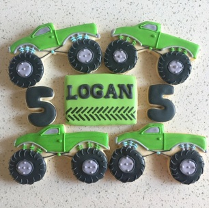 Monster Truck ($5), personalized rectangle ($4), and #5 ($1.75) cookies.