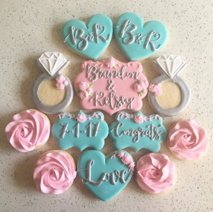 Pink and blue wedding set. $45/dozen.