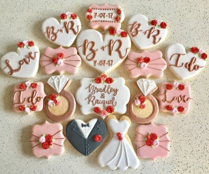 Red, pink, white and rose gold wedding Shower Set. $45/dozen.