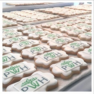 Small logo cookies for the PWH scholars program.