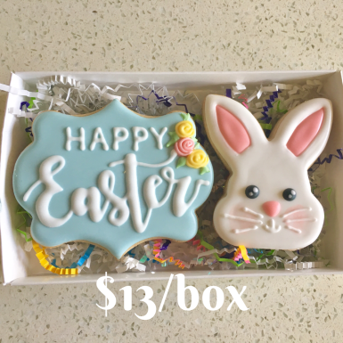 "Box A: ""Happy Easter"" set. Beautifully packaged and tied with a bow."
