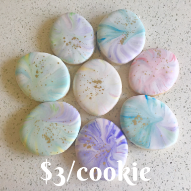 Marbled cookies individually packaged in cellophane bags. $3 per cookie