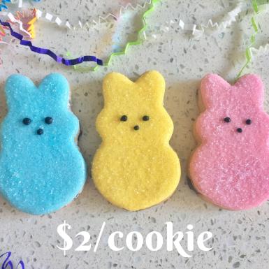 Peep Cookies individually packaged in cellophane bags. $2 per cookie.