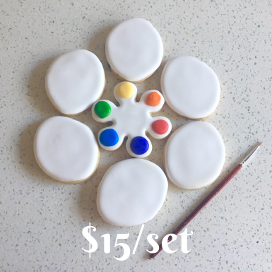Paint Your Own cookie set! Comes with 6 white eggs, 1 color palette cookie and two paint brushes. $15 per set.