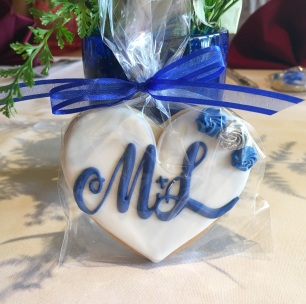 Bride and Groom Initial cookie w/ rose accents. $4.00 each.