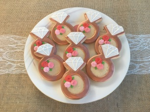 Engagement Ring cookie w/rose accents. $4.00 each.