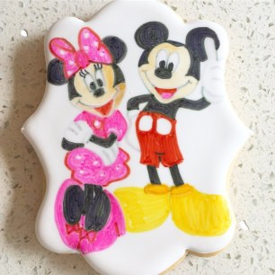 Mickey and Minnie character cookie.